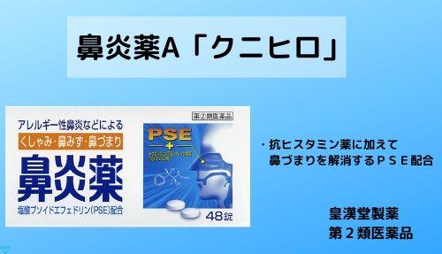 鼻炎薬A「クニヒロ」はクロルフェニラミンに加えて鼻づまりを解消する成分PSEが配合されています。