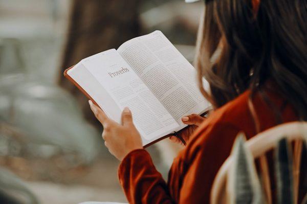 子どもが一人で本を読む