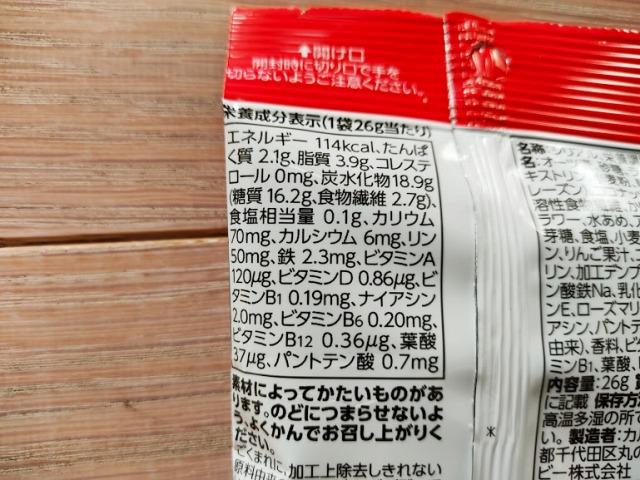 カルビッツの栄養成分表示