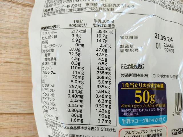 グラノーラプラス乳酸菌の栄養成分